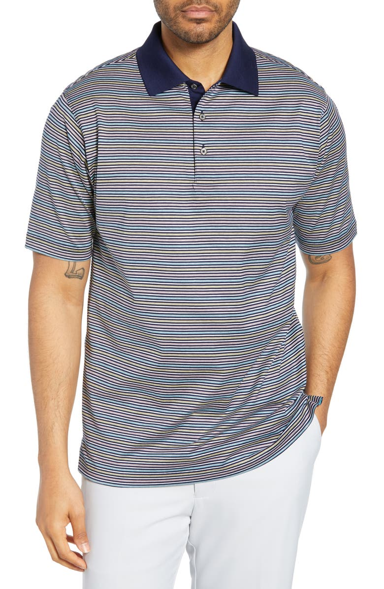 BOBBY JONES Bliss Luxe Stripe Polo, Main, color, NAVY