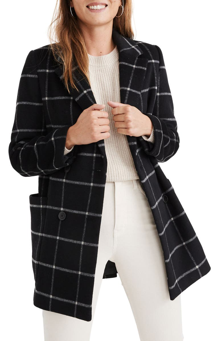 MADEWELL Hollis Windowpane Check Double Breasted Coat, Main, color, WIDE WINDOW CLOUD LINING