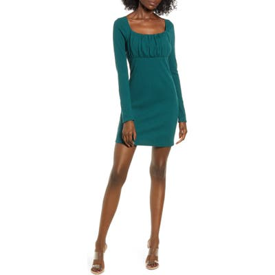Leith Empire Waist Long Sleeve Cotton Blend Minidress, Green