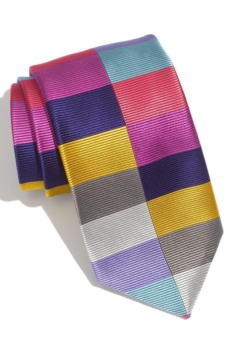 DUCHAMP 'Split Harlequin' Woven Silk Tie, Main, color, 020