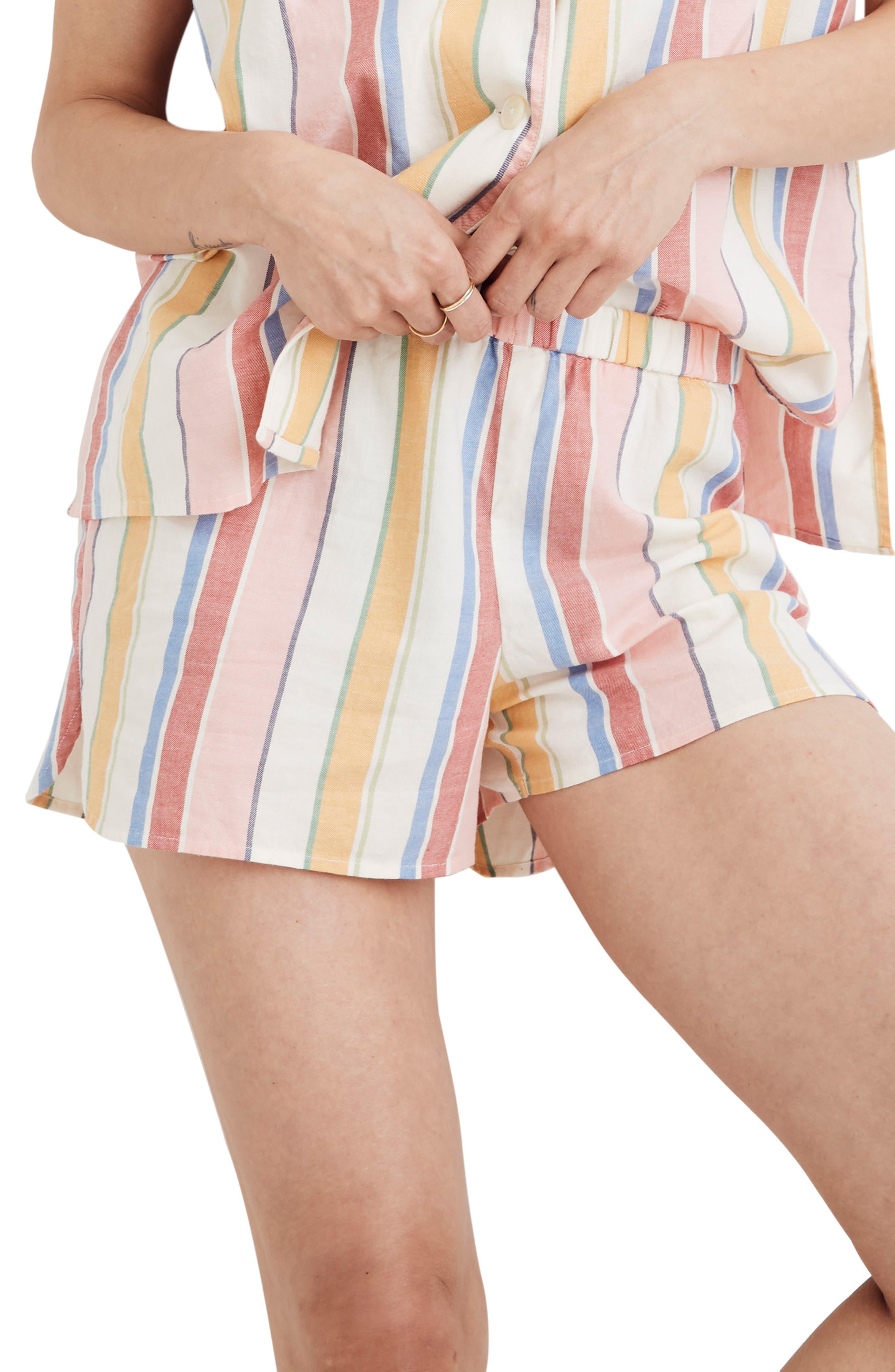 Madewell Rainbow Stripe Bedtime Pajama Shorts, Beige
