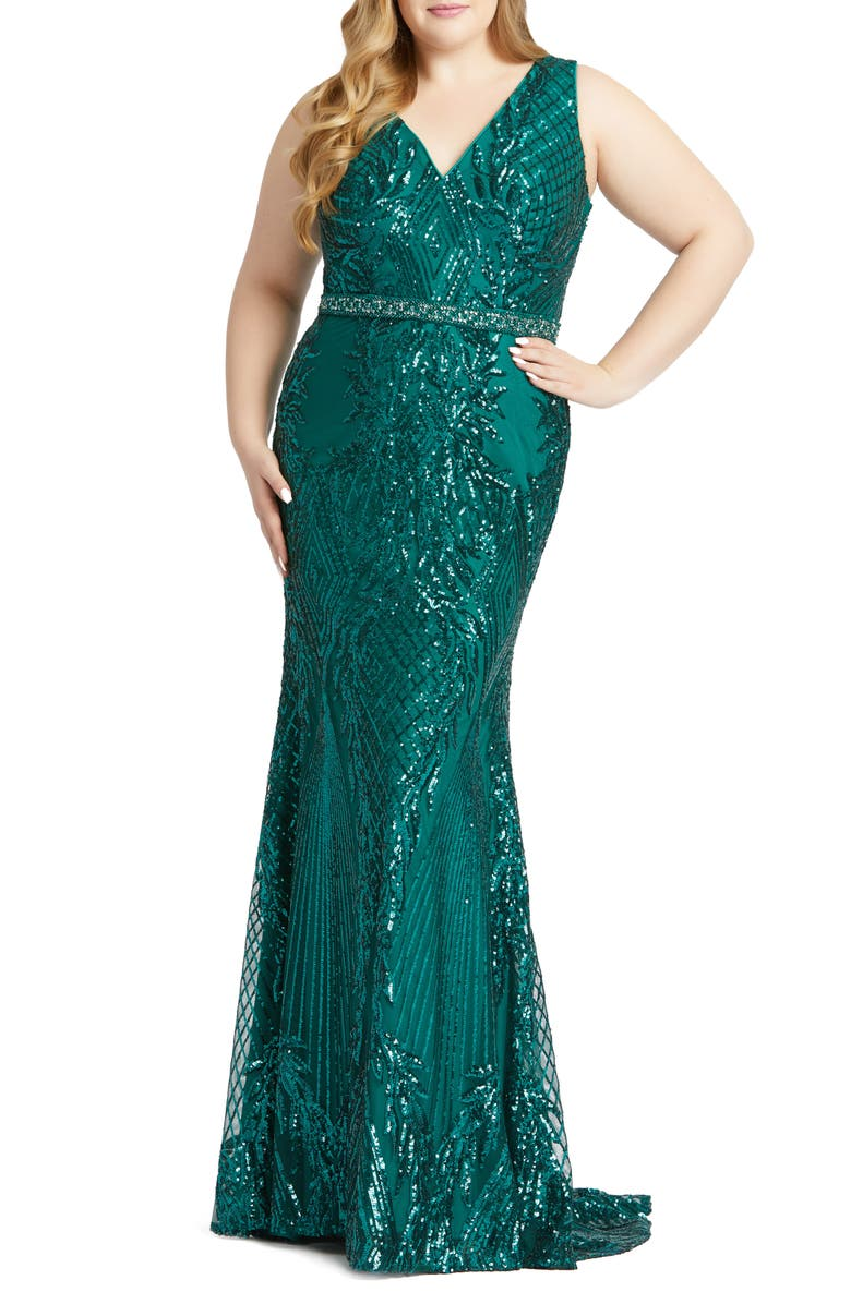 MAC DUGGAL Sequin Trumpet Gown, Main, color, DEEP EMERALD