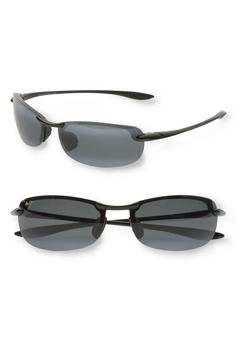 MAUI JIM 'Makaha - PolarizedPlus<sup>®</sup>2' 63mm Sunglasses, Main, color, BLK