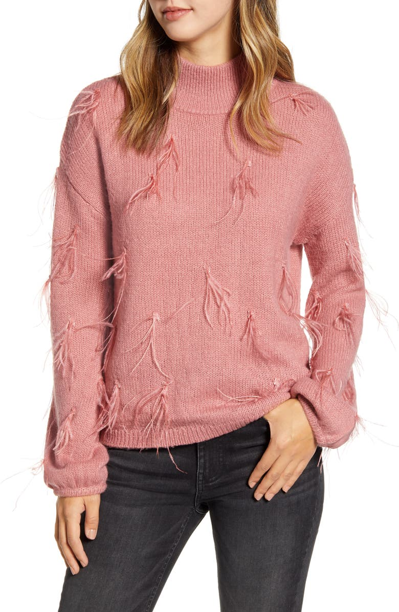 RACHEL PARCELL Feather Trimmed Mock Neck Sweater, Main, color, PINK COMPACT