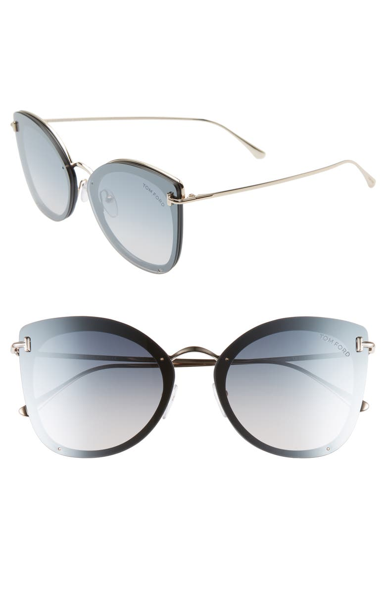 TOM FORD 62mm Oversize Butterfly Sunglasses, Main, color, SHINY BLACK/ ROSE GOLD/ SILVER