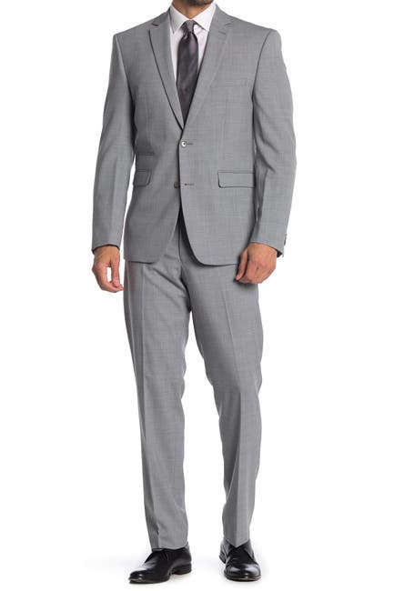 Image of Vince Camuto Grey Solid Two Button Notch Lapel Wool Slim Fit Suit