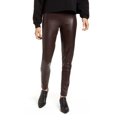 Only Super Star Faux Leather Leggings, Brown