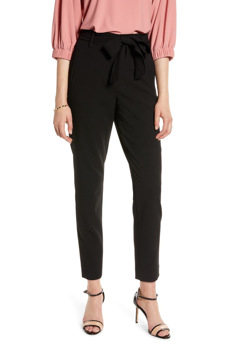 HALOGEN<SUP>®</SUP> Tie Waist Twill Ankle Pants, Main, color, BLACK