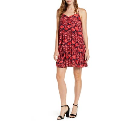 Petite Gibson X Hot Summer Nights Almost Ready Pleated Minidress, Red (Regular & Petite) (Nordstrom Exclusive)