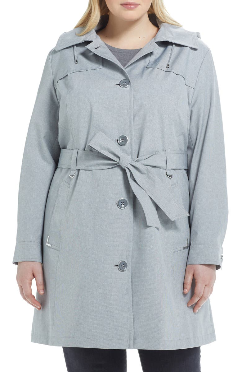GALLERY Belted Trench Coat with Hood, Main, color, 001