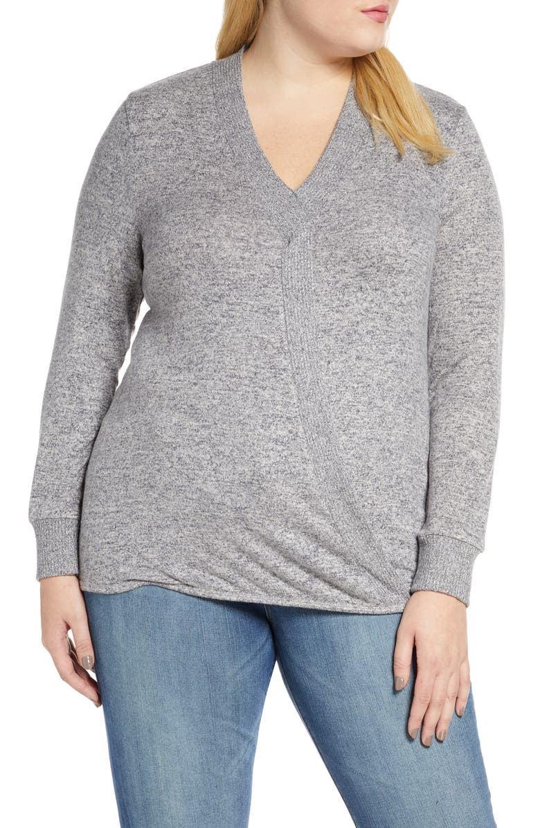 BOBEAU Mavis Cozy Cross Front Sweater, Main, color, DEW/NIGHTFALL