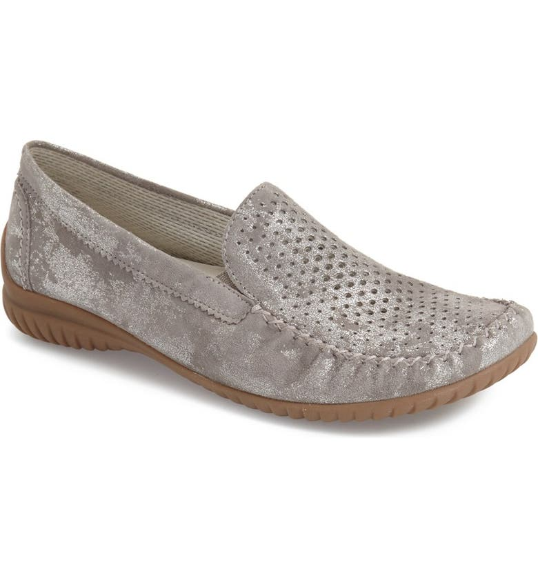 GABOR Perforated Loafer, Main, color, GREY CARUSO LEATHER