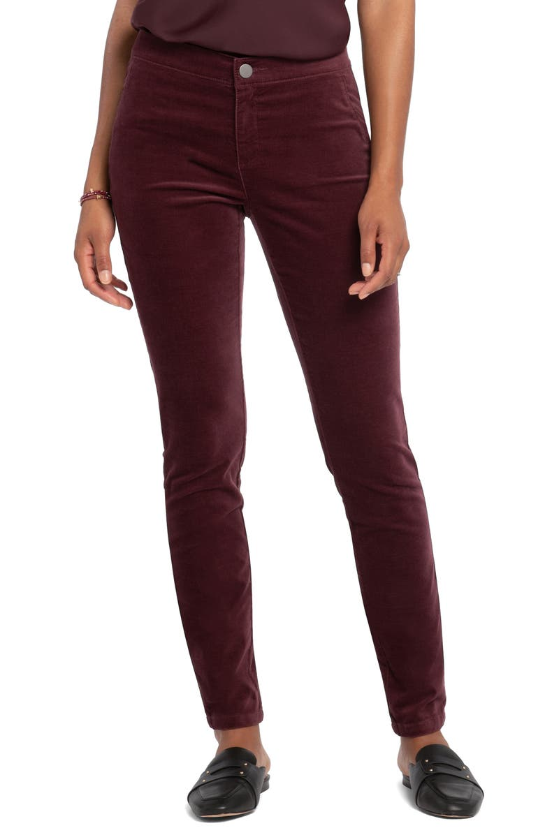 NIC+ZOE Stretch Velvet Skinny Pants, Main, color, WINTERBERRY