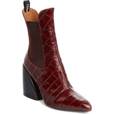 Chloe Croc Embossed Chelsea Boot - Brown