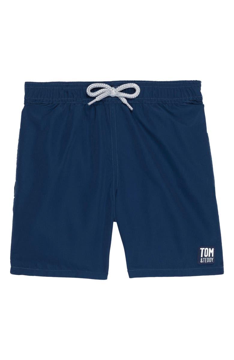 TOM & TEDDY Solid Swim Trunks, Main, color, MIDNIGHT BLUE
