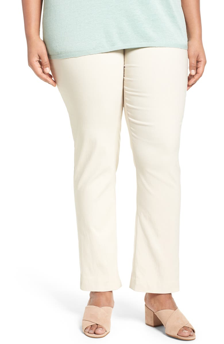 NIC+ZOE 'Wonder Stretch' High Rise Straight Leg Pants, Main, color, SANDSHELL