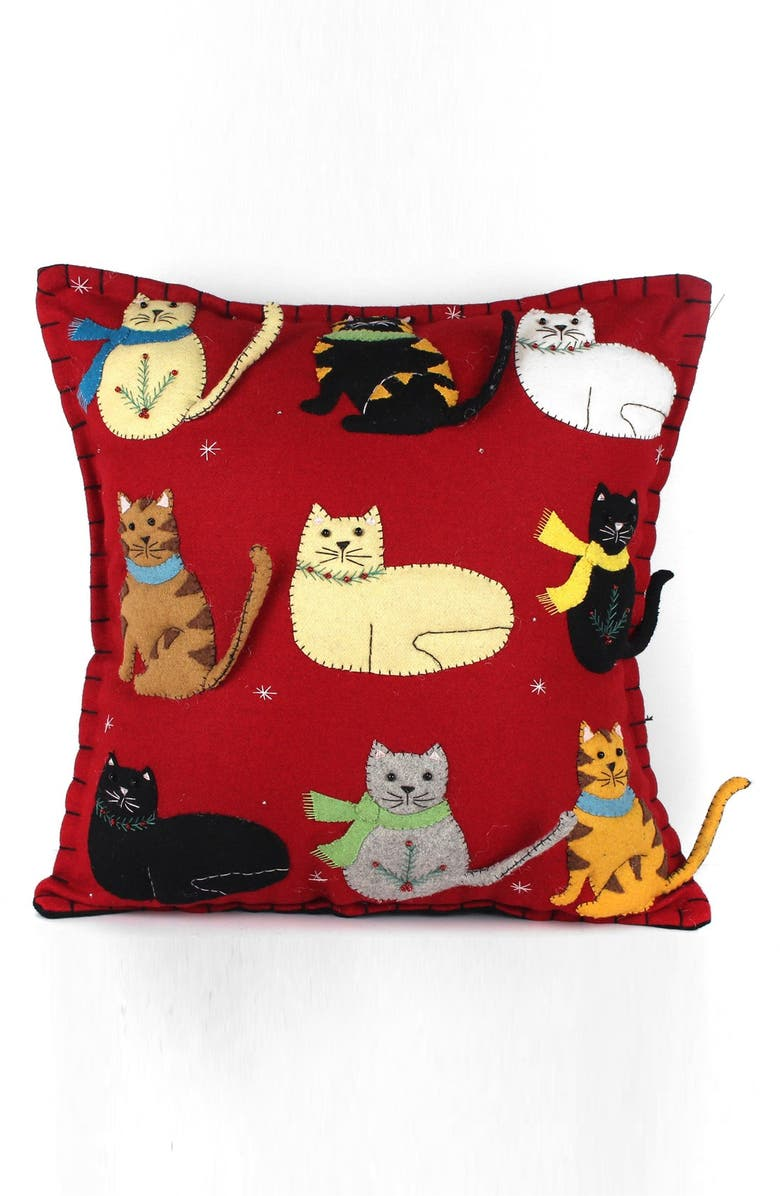 NEW WORLD ARTS Nine Cats Accent Pillow, Main, color, RED MULTI