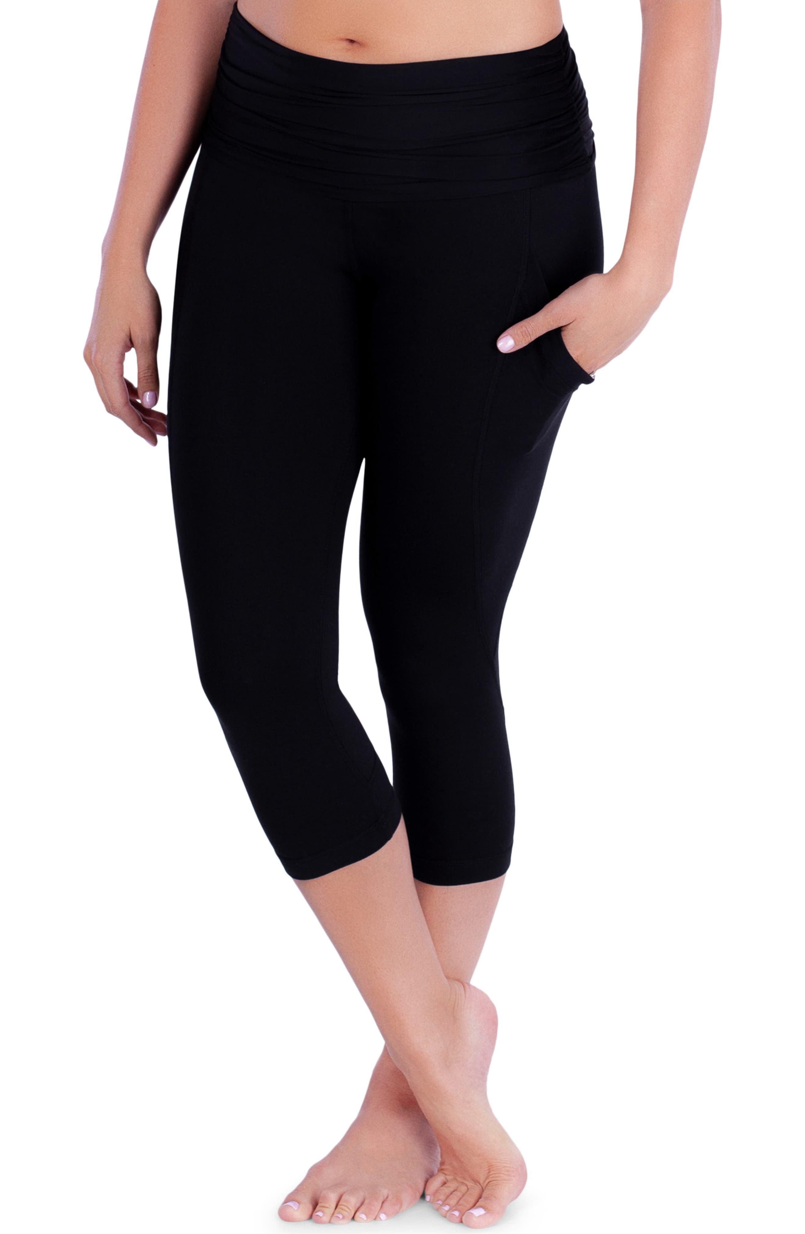 ,                             ActiveSupport<sup>®</sup> Power Capri Maternity Leggings,                             Alternate thumbnail 4, color,                             BLACK