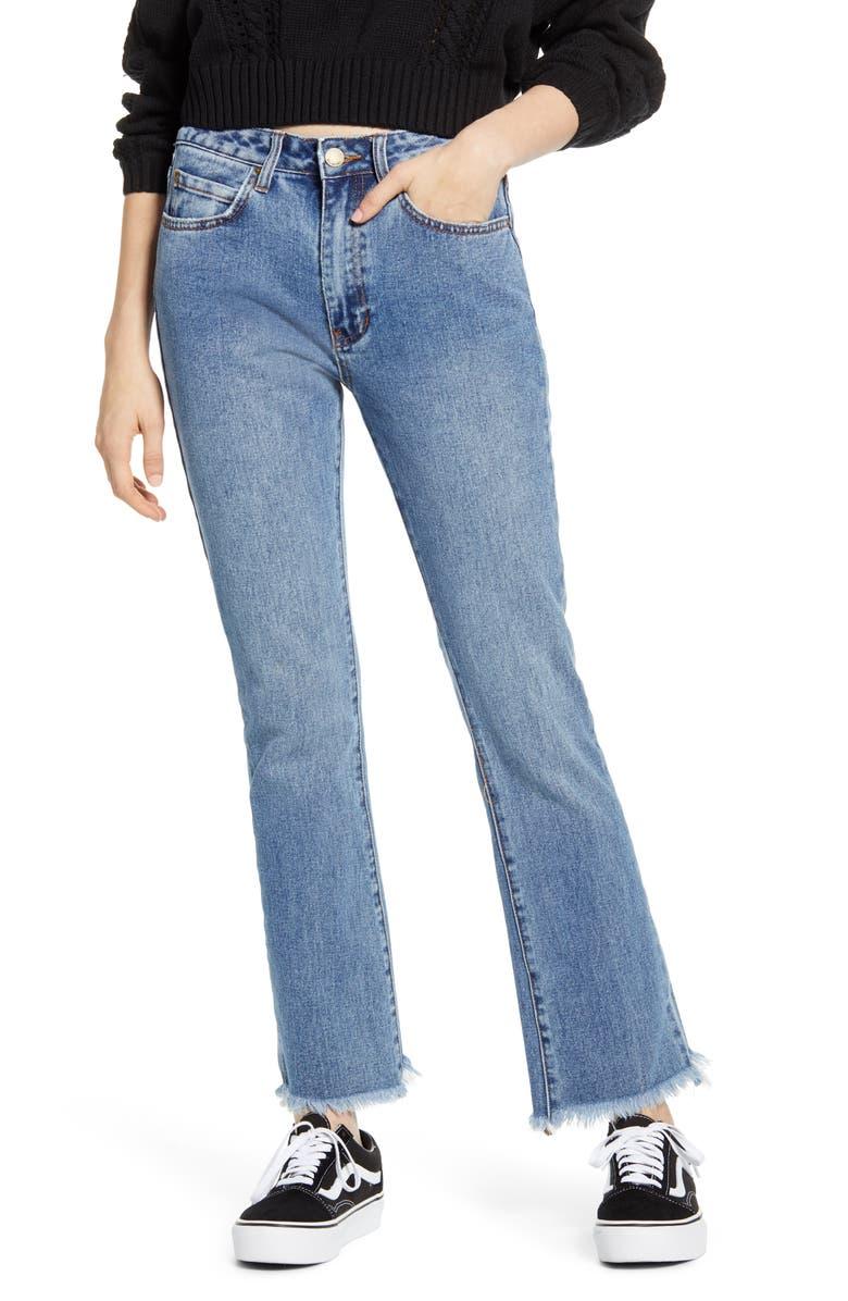 BILLABONG Cheeky Step Hem Crop Flare Jeans, Main, color, INDIGO