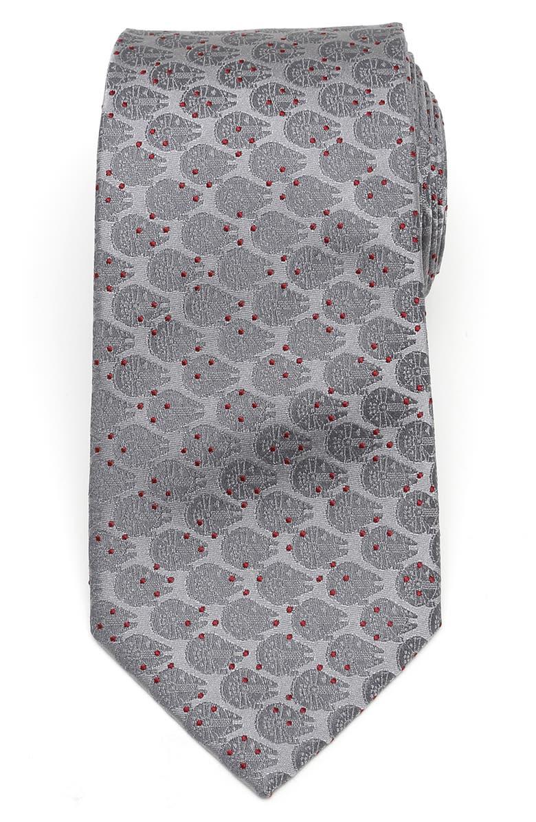 CUFFLINKS, INC. Millennium Falcon Dot Silk Tie, Main, color, GRAY