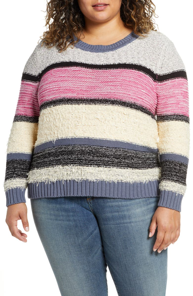 CASLON<SUP>®</SUP> Marl Stripe Sweater, Main, color, IVORY PINK ODETTA STRIPE