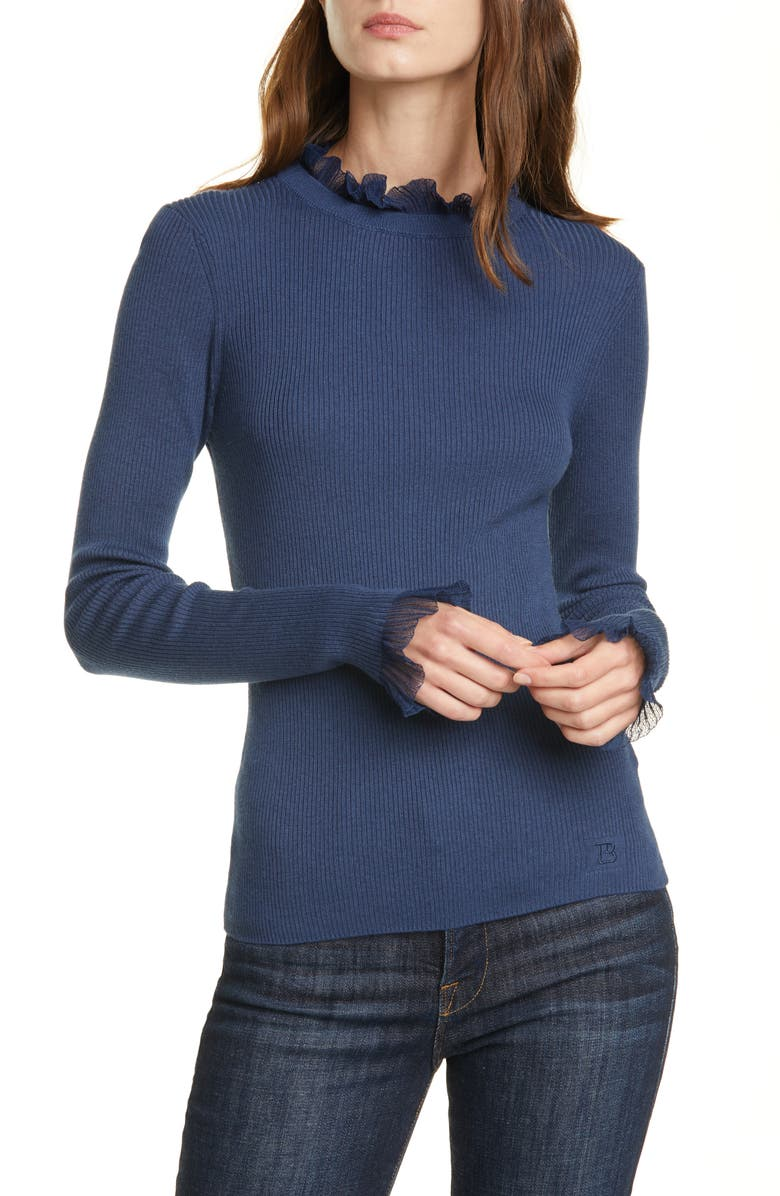 TED BAKER LONDON Frill Trim Sweater, Main, color, MID BLUE