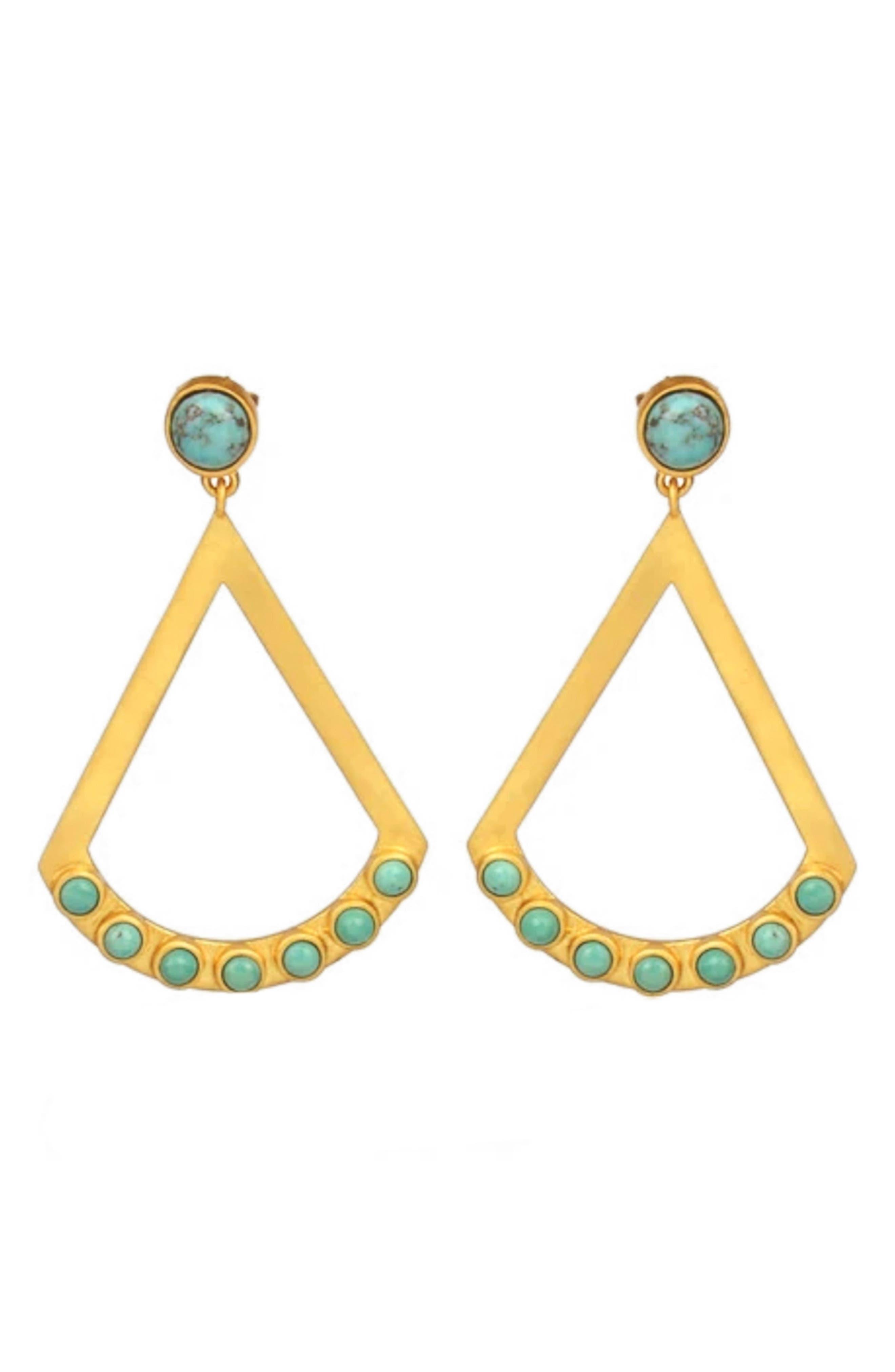 Women's Christina Green Turquoise Drop Earrings
