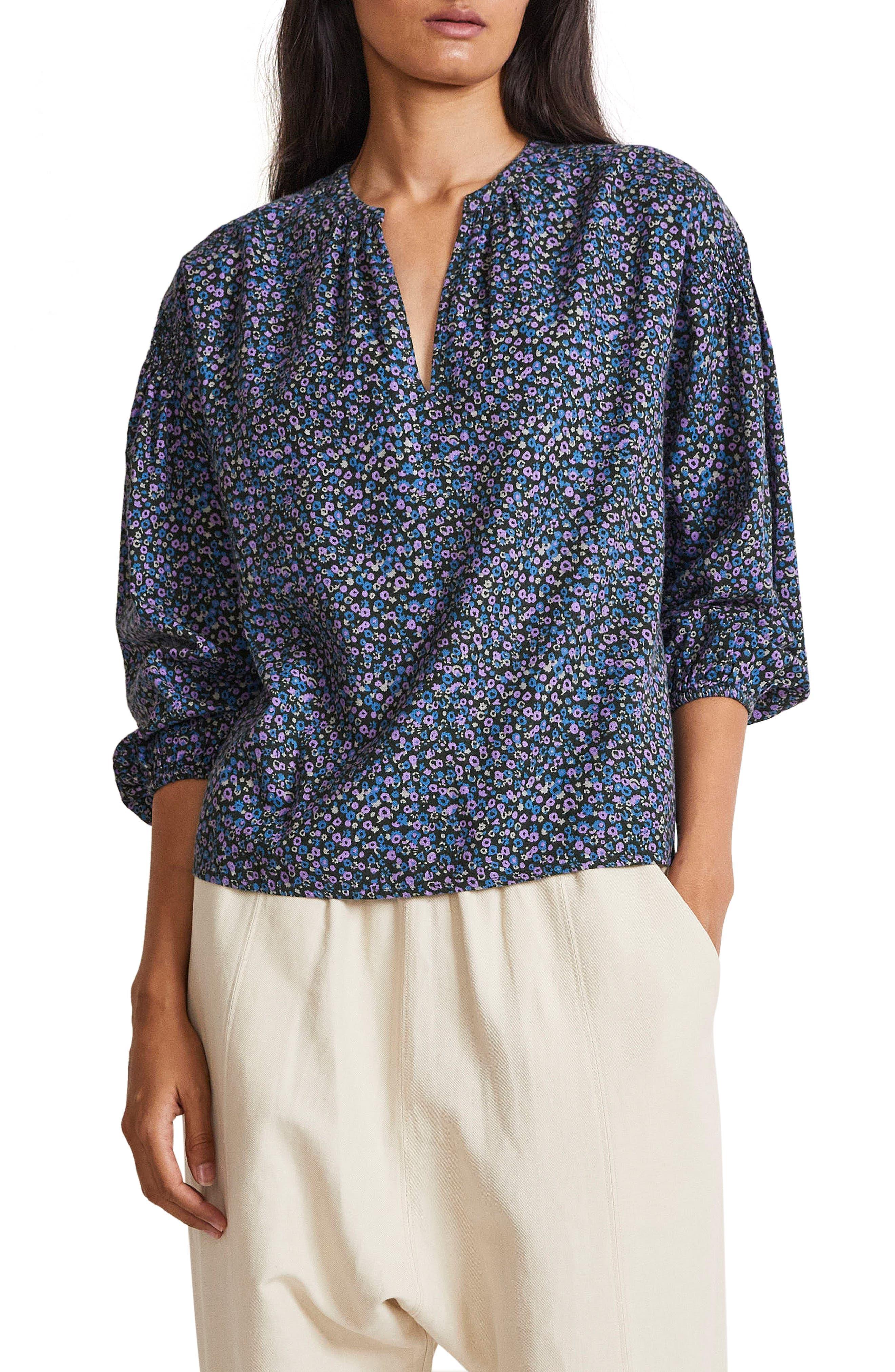 Marit Floral Print Shirred Cotton Blouse