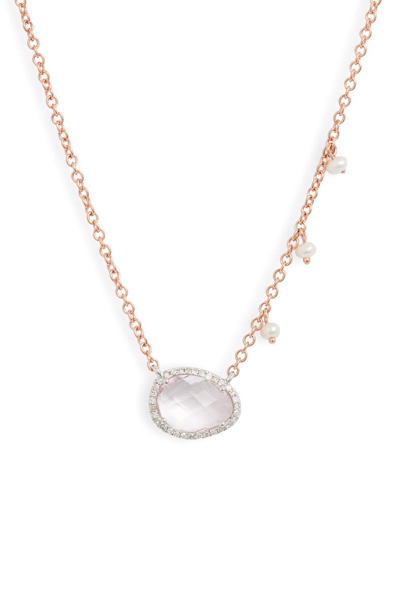 MEIRA T Morganite & Diamond Pendant Necklace, Main, color, ROSE GOLD