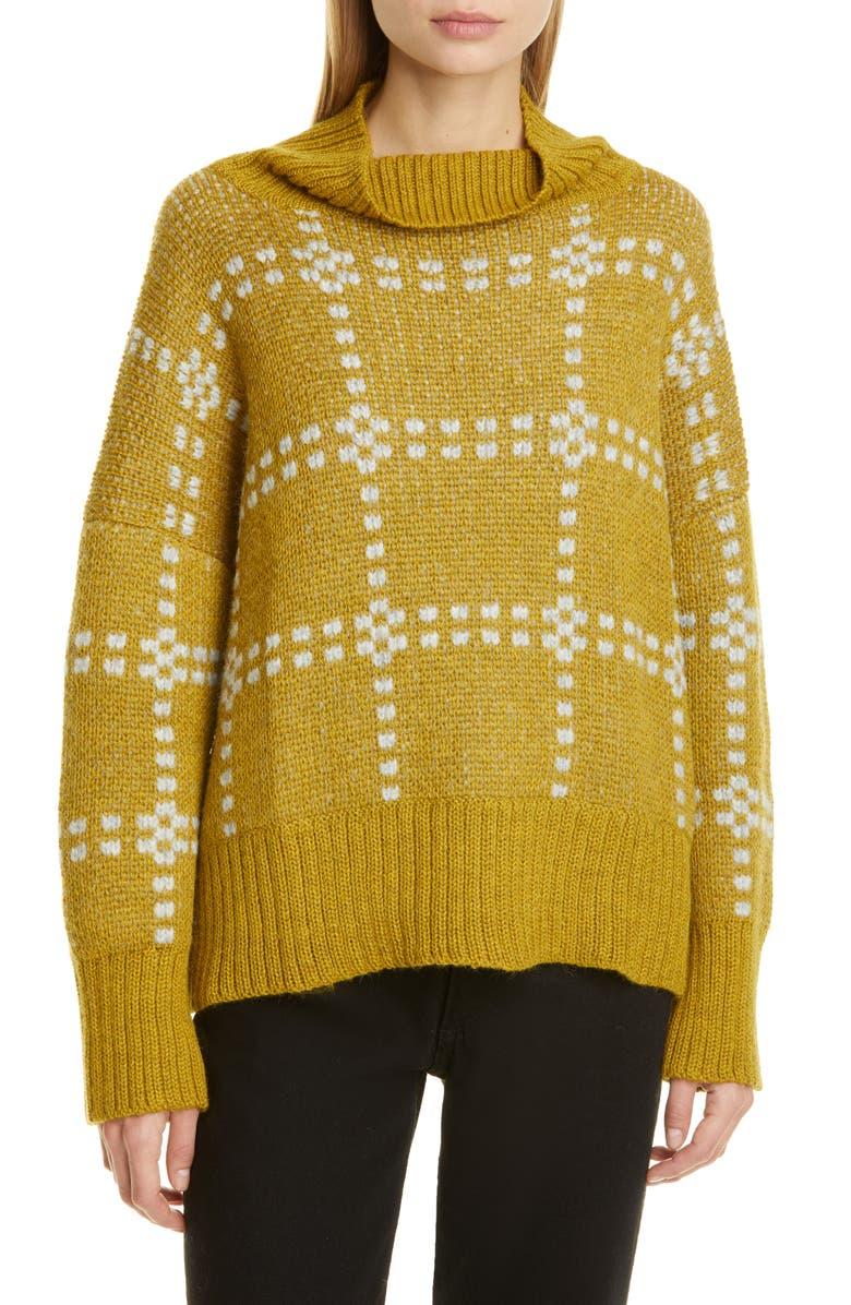 ECKHAUS LATTA Check Alpaca Blend Sweater, Main, color, LICHEN