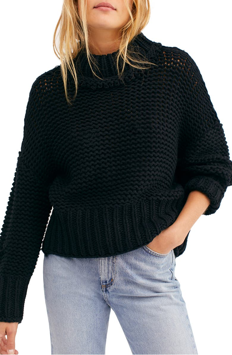 FREE PEOPLE My Only Sunshine Sweater, Main, color, BLACK