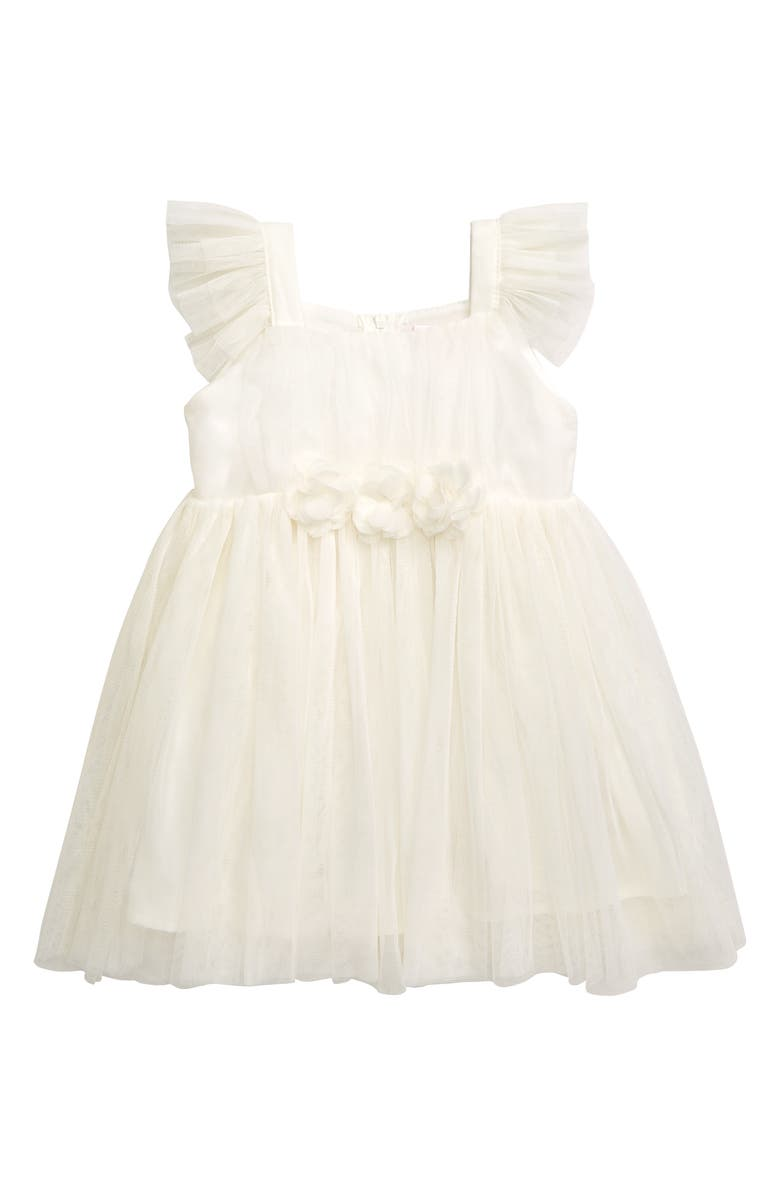 POPATU Flutter Sleeve Tulle Dress, Main, color, CREAM