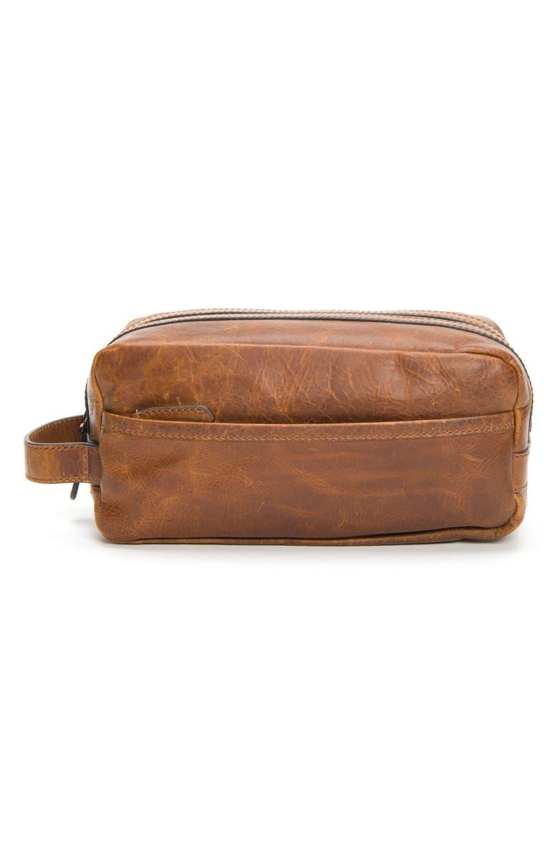 FRYE 'Logan' Leather Travel Kit, Main, color, COGNAC