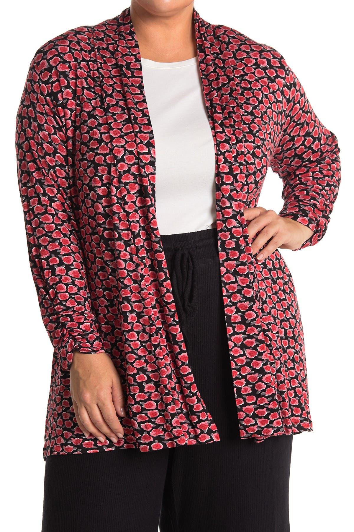 Image of Bobeau Knit Patterned Open Front Cardigan