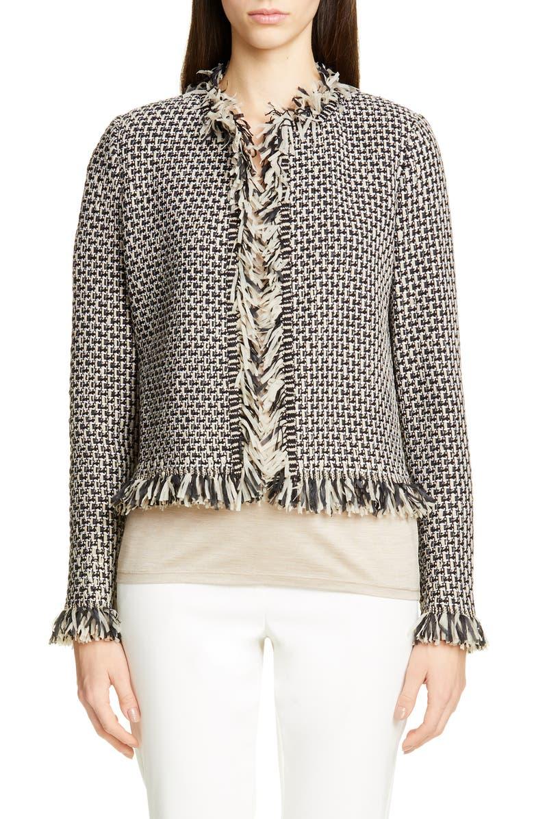 ST. JOHN COLLECTION Artisanal Basket Inlay Jacquard Knit Jacket, Main, color, CASHEW/ CAVIAR MULTI