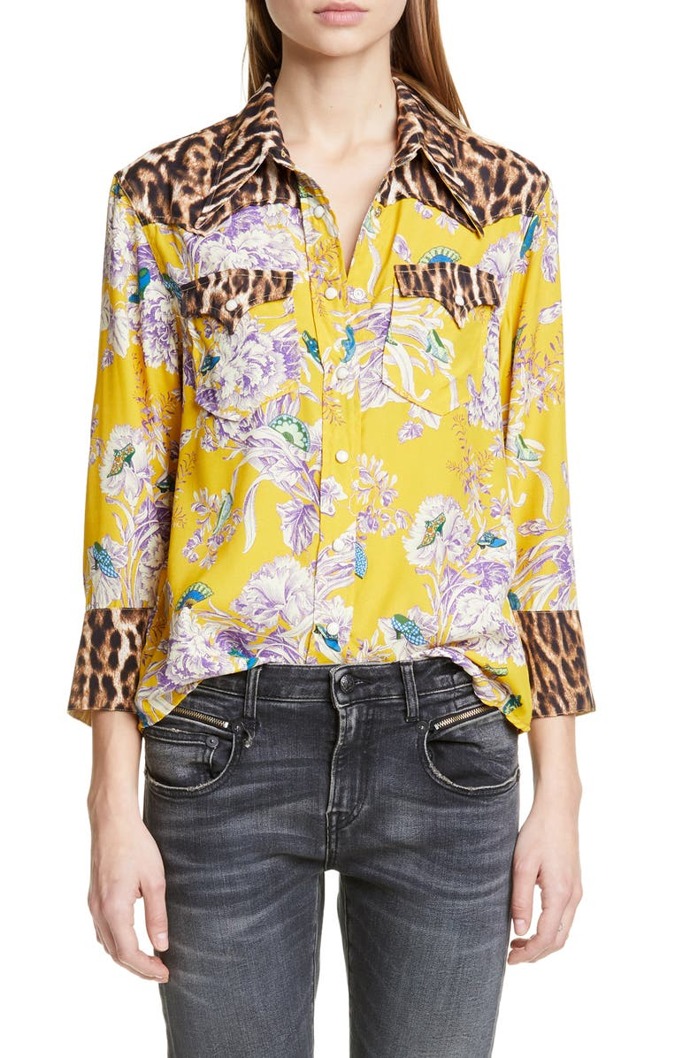 R13 Exaggerated Collar Mixed Print Cowboy Shirt, Main, color, MUSTARD FLORAL WITH LEOPARD