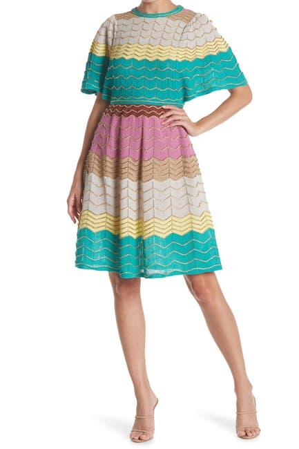 Image of M Missoni Colorblock Short Sleeve Knit Dress