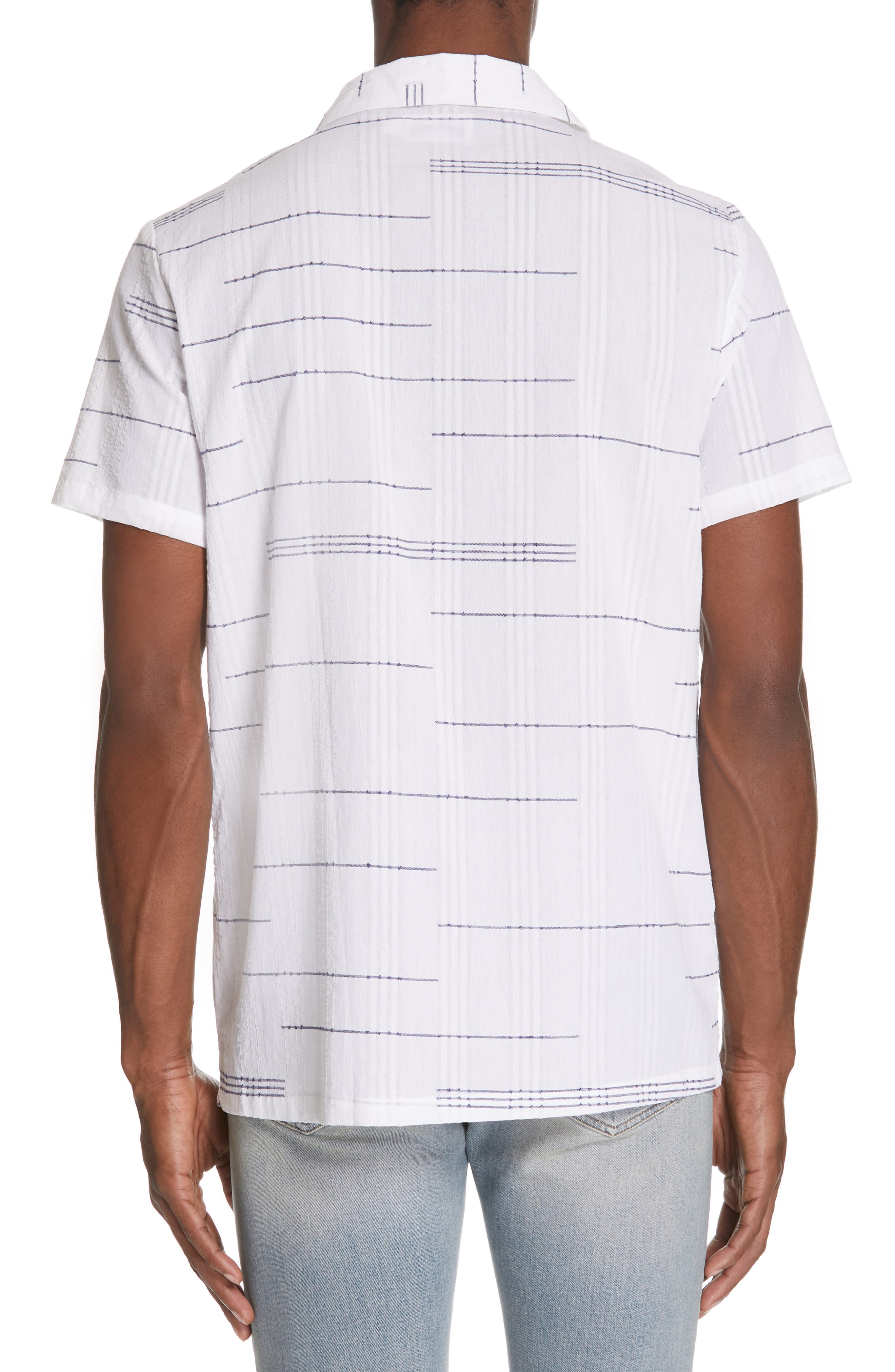,                             Embroidered Stripe Woven Shirt,                             Alternate thumbnail 3, color,                             WHITE