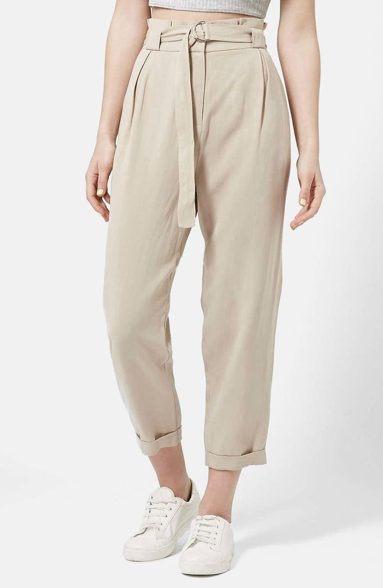 TOPSHOP D-Ring Tapered Trousers, Main, color, 250