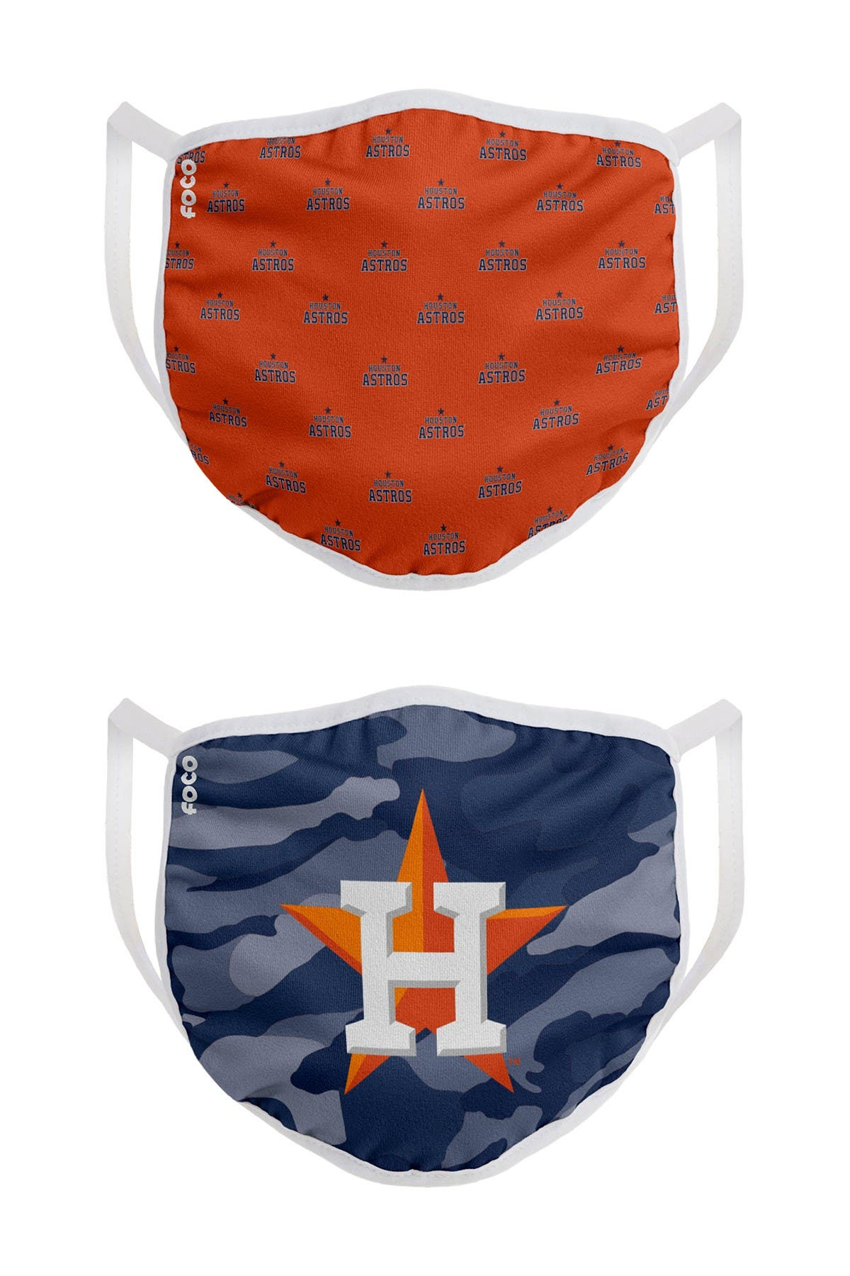 Image of FOCO MLB Houston Astros Clutch Printed Face Cover - Pack of 2