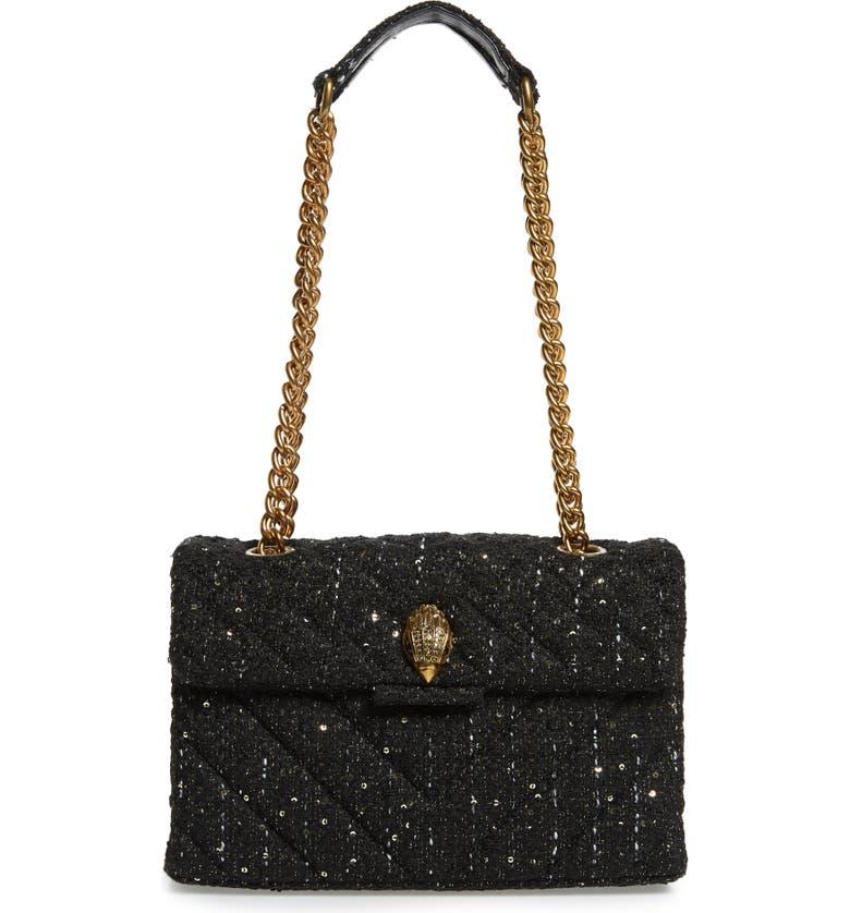 KURT GEIGER LONDON Large Kensington X Shoulder Bag, Main, color, BLACK