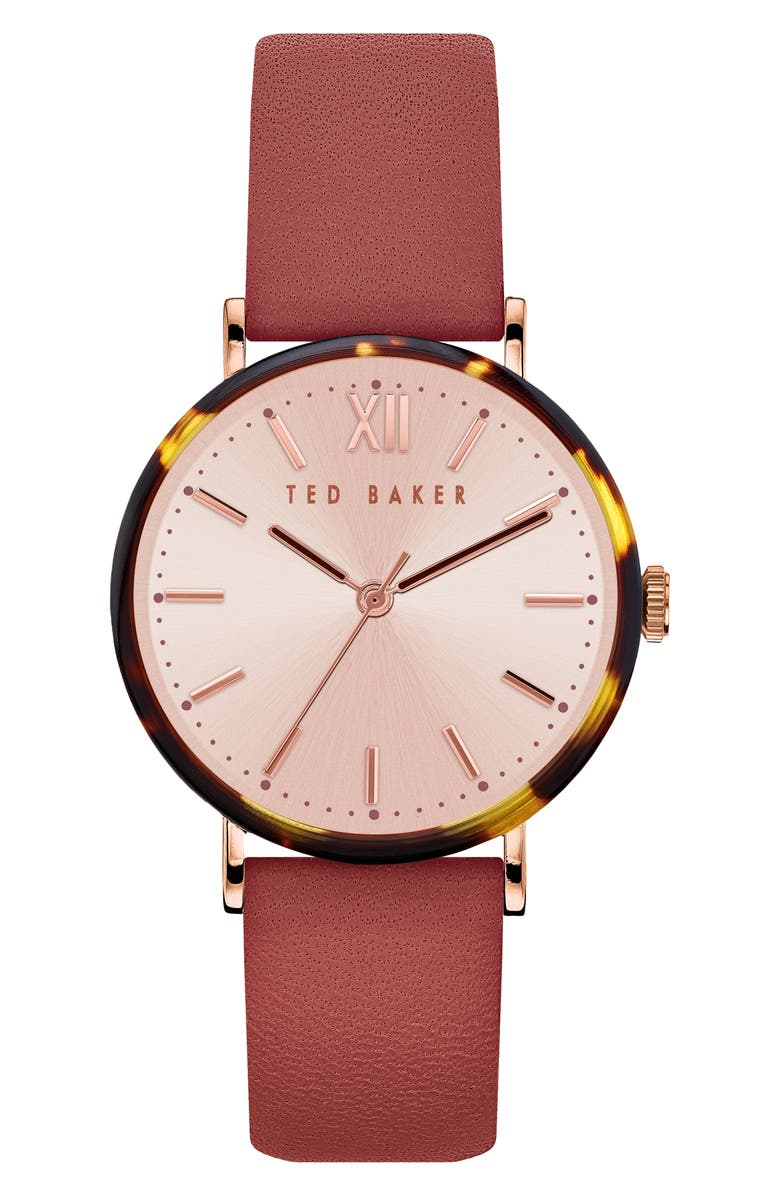 TED BAKER LONDON Phylipa Leather Strap Watch, 37mm, Main, color, BORDEAUX/ GOLD/ TORTOISE