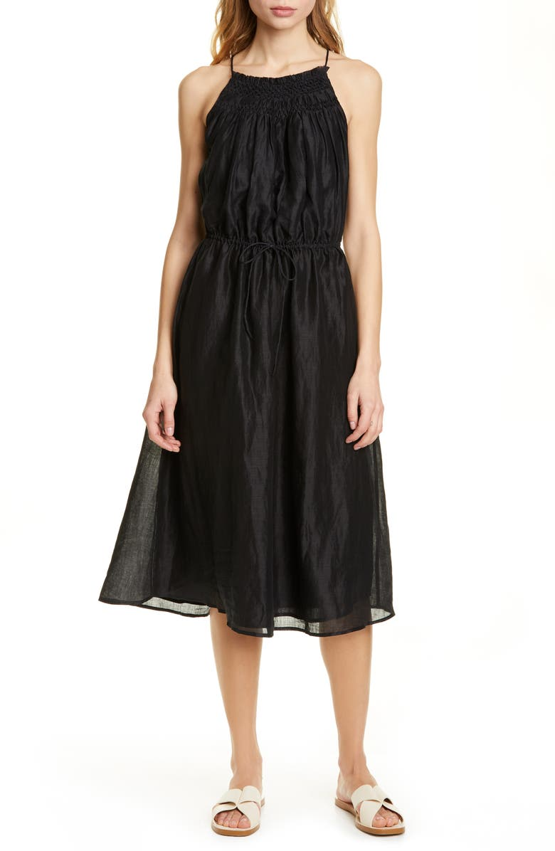 FRAME Hand Smocked Midi Dress, Main, color, NOIR