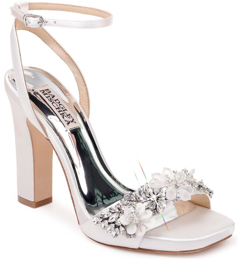 BADGLEY MISCHKA COLLECTION Badgley Mischka Alexa Ankle Strap Sandal, Main, color, SOFT WHITE SATIN