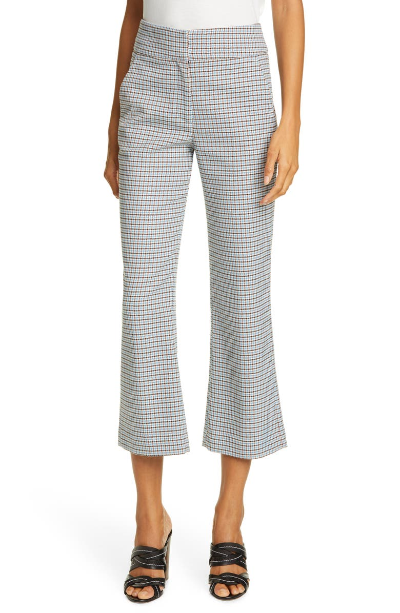 VERONICA BEARD Cormac Houndstooth Check Crop Trousers, Main, color, BEIGE MULTI