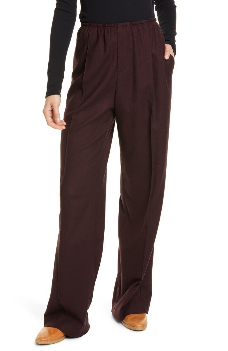 VINCE Wide Leg Flannel Pants, Main, color, RAISIN