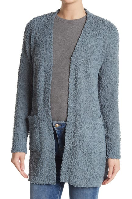 Image of Bobeau Patch Pocket Open Front Long Cardigan