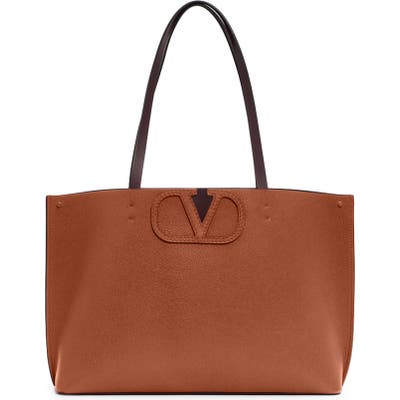 Valentino Garavani Large V-Logo Leather Tote - Brown