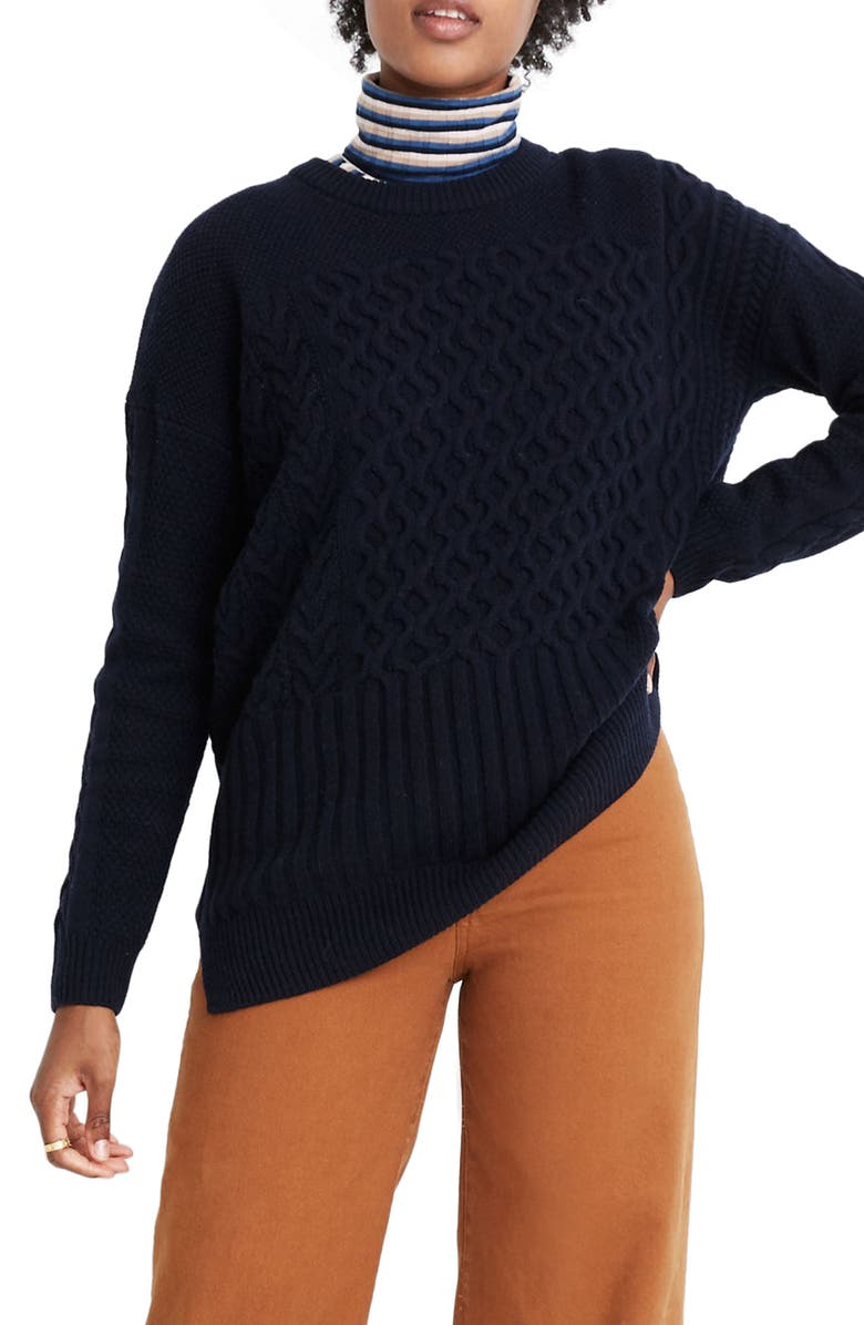 MADEWELL Patchwork Cable Knit Tunic Sweater, Main, color, 400