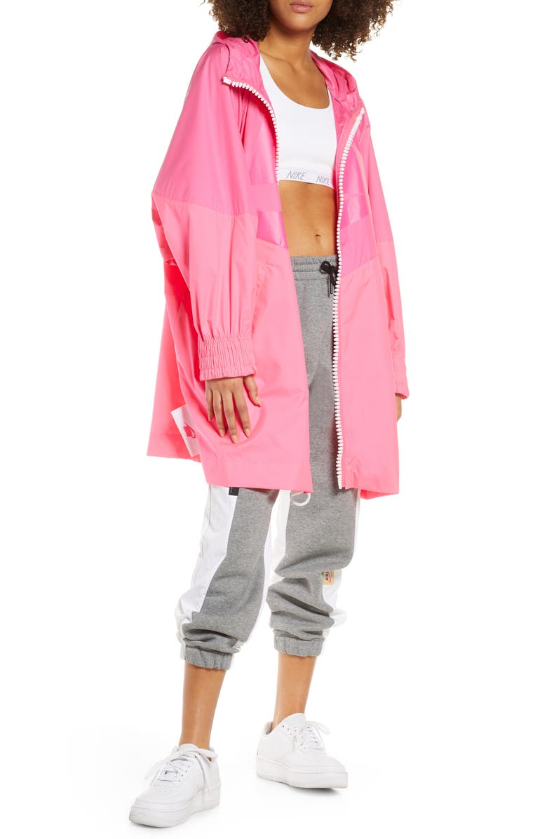 NIKE Sportswear NSW Windrunner Water Repellent Oversize Jacket, Main, color, PINKSICLE/ HYPER PINK/ WHITE